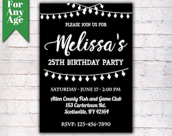 25th Birthday Invitation, Birthday Party Invite, Printable Adult Invitation, Black and White, Any Age, Men or Women Party  - I017
