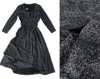 70s Sparkle Disco Ball Room Black & Silver Long Sleeve Floor Length Dress (Women's Size Small)