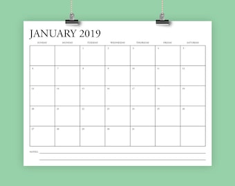 8.5 x 11 Inch 2019 Calendar Template | INSTANT DOWNLOAD | Classic Serif Type Monthly Printable Minimal Desk Wall Calender | Print Ready