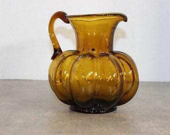 Brown—Golden Amber Ribbed Panel Squat Pitcher Jug