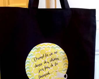 """Tote bag black with quote """"lemons"""""""