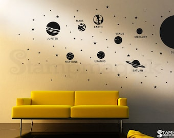 Planets Wall Decal - Solar System Sun Vinyl Wall Decor - Outer Space Stars Wall Art Graphics - Vinyl Wall Decal for Bedroom Nursery - K431