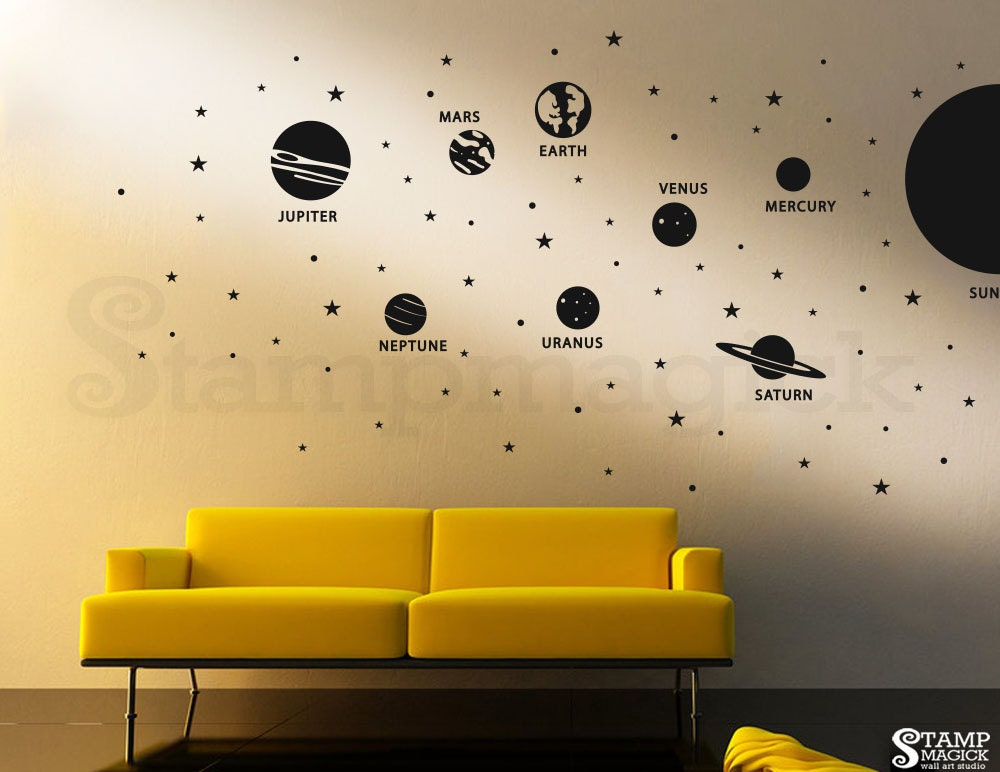 Planets Wall Decal Solar System Sun Vinyl Wall Decor Outer