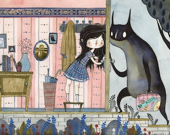 An Unexpected Visitor - A5 Print - who's at the door garden visit guest girl monster journey traveler wallpaper interior hall home pink navy