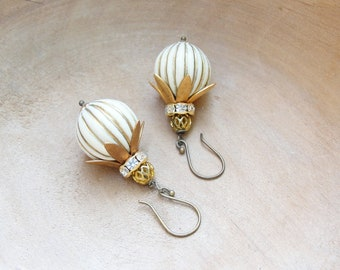 Oriental Circus Earrings - Rhinestones, Striped Resin beads and Vintage Brass