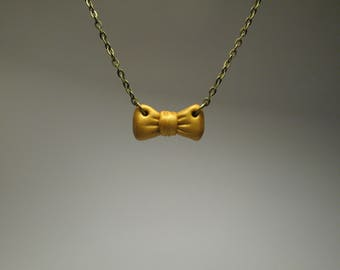 Gold Bow Necklace - Cute Jewelry - Polymer Clay Jewelry