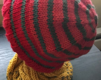 Warm Red and Green Adult Hat.