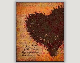 Romantic Valentine, Annabelle Lee, Edgar Allan Poe, goth Valentine, romantic wall art, anniversary gift, heart art, macabre art, poetry art