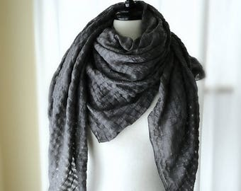 Large grey shawl scarf - linen blend gauze cloth