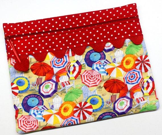 Beach Umbrellas Cross Stitch Embroidery Project Bag
