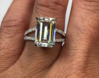 Emerald Cut Moissanite Engagement Ring with Diamond Accents