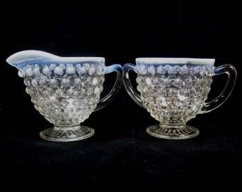 Opalescent Moonstone Hobnail Glass Sugar and Creamer Set