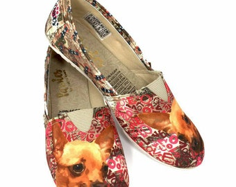 CHIHUAHUA SHOES, pet lovers, dog lovers, hush puppies, puppies, slip ons, woman shoes, dog breeds, Chihuahua Lovers, Animal Lovers, footwear