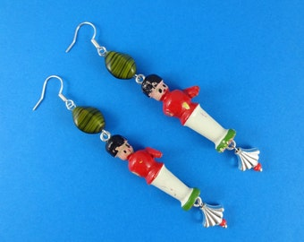 Vintage Toy Soldier Earrings - green and red, wooden toys, old and rustic, found object, Christmas earrings, cute kitsch retro, tatty broken