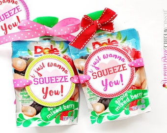 I Wanna Squeeze You Printable Valentine Tags - Cupake Toppers - Printable Valentine Party Favors -Valentine Tags for Fruit Squeeze Pouch