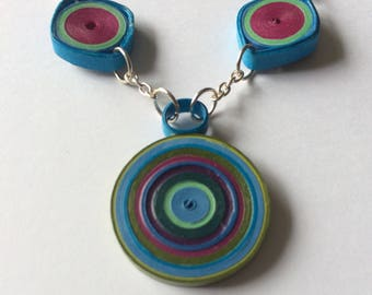 Necklace, colorful paper jewelry, eco friendly necklace, jewelry lightweight, festival jewelry, summer necklace