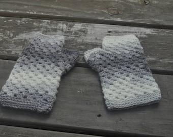 Gray and White Handwarmers -Medium