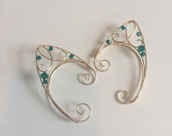 Dark green stone elfin ear cuffs