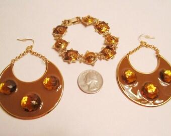 Cinnamon Almond and Orange Rhinestone Bracelet and Large Earrings