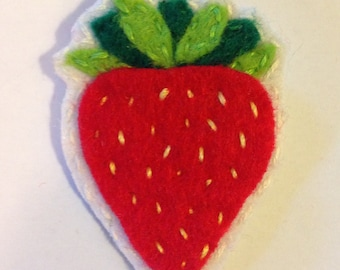 Strawberry felt pin or patch