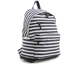 Mens Stripe Backpack Womens College School Bag Casual Daypack 9106