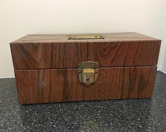 Vintage Ballanoff Porta File Brown Faux Woodgrain Bois Vintage Office Industrial Storage