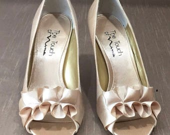 Gold Shimmer Pumps Open Toe size 7