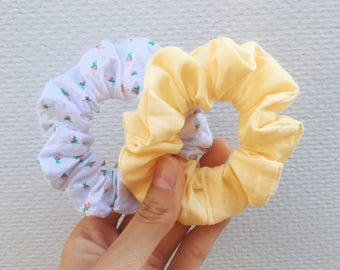 Set of 2 Scrunchies: Floral & Pastel Yellow