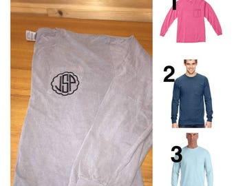 Comfort Colors Long Sleeve Pocket Shirt Embroidered personalized monogrammed