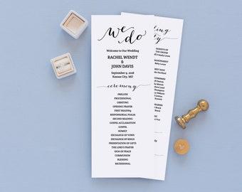 Printable Wedding Program, Rustic Wedding Programs, Unique Wedding Programs, Catholic Wedding Ceremony, Editable in Templett