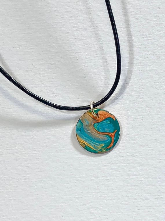 SJC10147 - Handmade necklace with abstract design round silver plated enamel painted pendant with black leather cord silver plated clasp