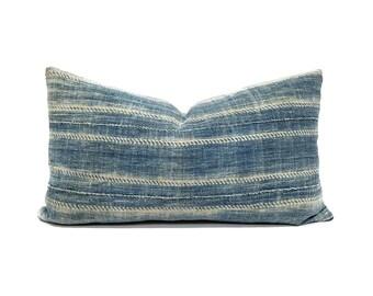 """Indigo mudcloth pillow cover, 11""""x19"""" indigo mudcloth pillow, mudcloth, african mudcloth pillow, indigo mudcloth pillow, indigo pillow cover"""