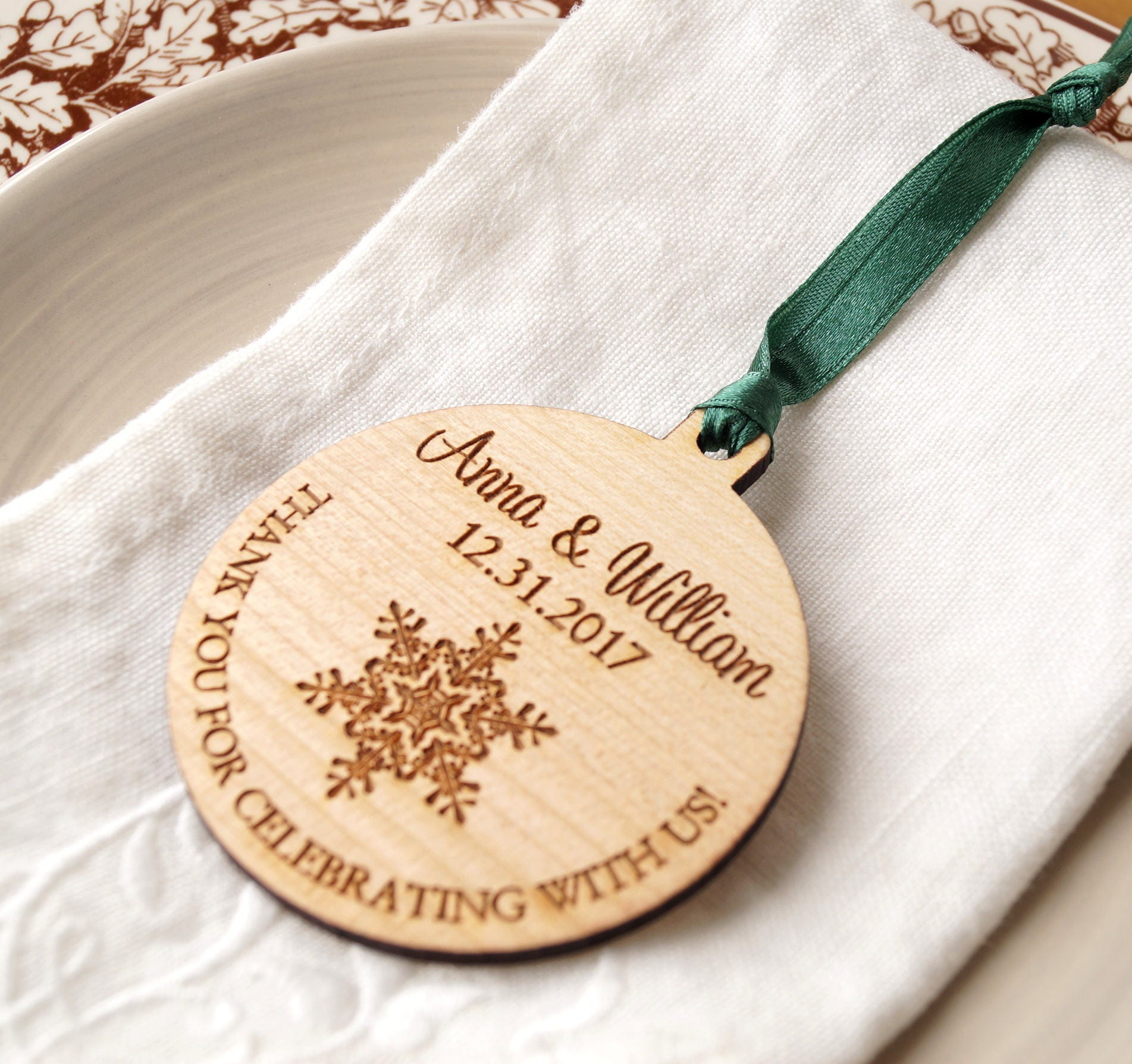 Wedding favors personalized Christmas ball ornament winter