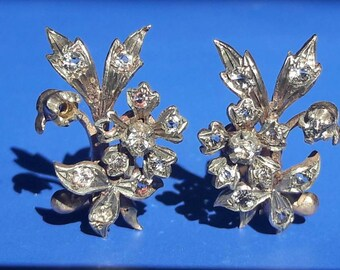 Antique Forget me not flower silver 925 clip earrings
