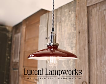 Pendant Light - Red Taper Shade - 10 Inch
