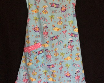 Flamingo's Day at the Beach Apron with Ruffle