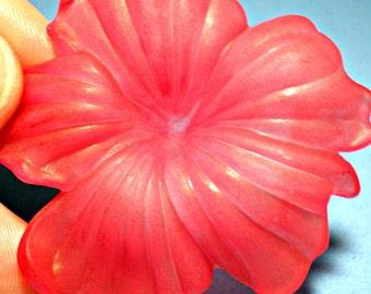 Large Vintage Lucite Pink Flower Pendant