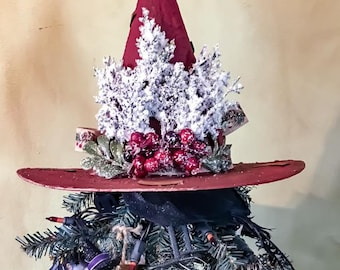 Primitive witch hat tree topper, primitive christmas tree topper, yule tree topper, decorative witch hat