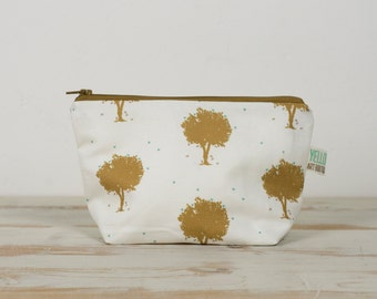 Gold Trees Fabric Toiletry / Make Up Bag