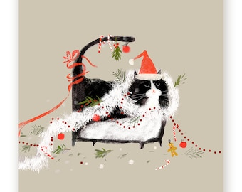 Funny Christmas Card - Merry Mess - Funny Christmas Cat Card