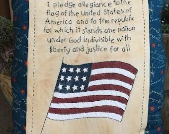 Patriotic Americana - Pledge of Allegiance Pillow - Primitive American Flag - Patriotic Room Accent - Patriotic Pillow - Country Decoration