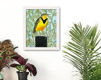 Meadowlark, Bird Prints, Yellow Bird, Animal Print Art, Watercolor, Patterned Background, Audubon