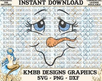 Instant Download - Personal Use - Snowman Face Snow girl Face Snow Lady Face - SVG PNG DXF - Cut cutting File svg cup Shirt Designs Wall Art