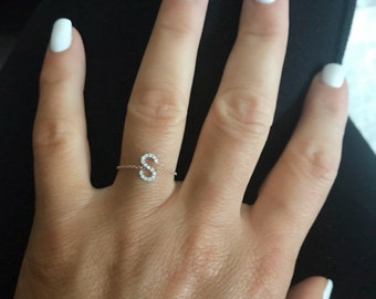 14k Gold Diamond Initial Chain Ring/Wedding/Anniversary/Bridesmaids/Birthday/Graduation