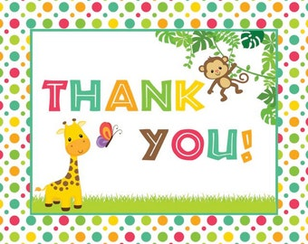 Jungle Baby Shower Thank You Notecards