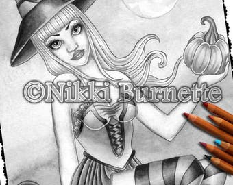 Adult Coloring Page - Grayscale Coloring Page Pack - Printable Coloring Page - Digital Download - Fantasy Art - CORALINE - Nikki Burnette