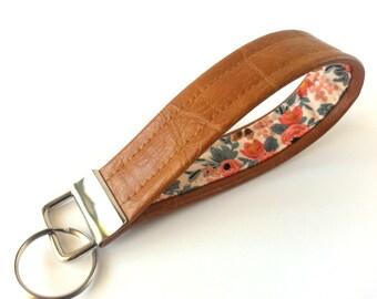 Vegan Keychain, Boho Keychain, Faux Leather Keychain, Floral Print, Key Holder, Wrist Strap