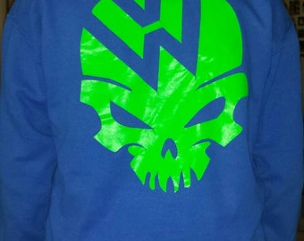 VW Skull Pull over Youth Hoodie, Shown in Royal Blue w/ Green