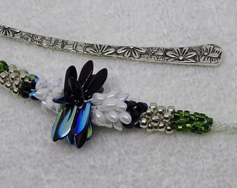 Beaded Metal Shepard's Hook  Bookmark