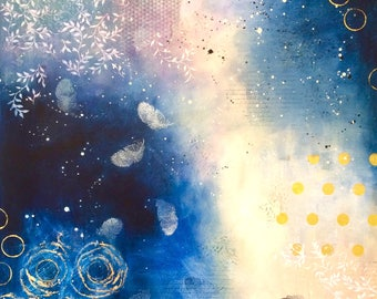Abstract fine art print 'Indigo feather'